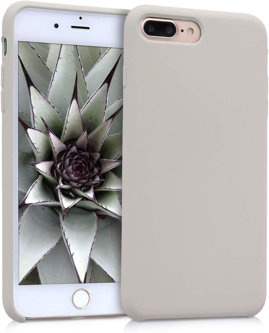 kwmobile TPU Silicone Case Compatible with Apple iPhone 7 Plus / 8 Plus - Slim Protective Phone Cover with Soft Finish - Beige