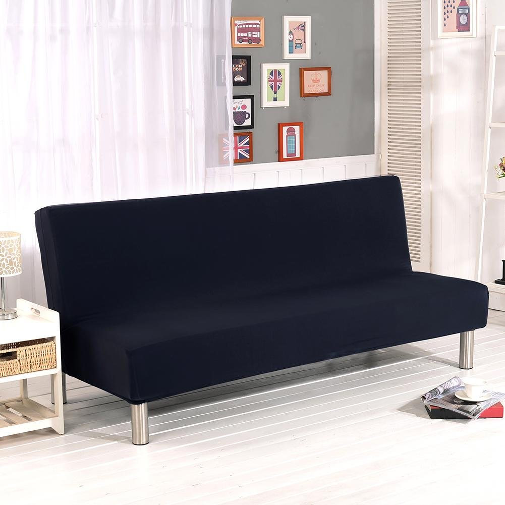 Ivoyde Solid Color All-Inclusive Folding Stretch Sofa Bed Sofa Cover Protector Slipcover Without Armrests
