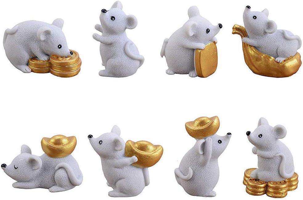 MISAZ 8 Pieces Miniature Mouse Figure Animal Rat Toys Decorations, Micro Landscape Decor Office Table Desk DIY Figurines Resin Money Rats Ornaments Statue, Grey