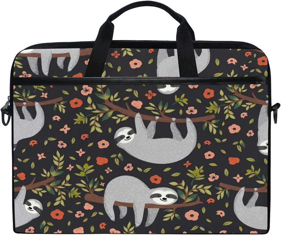 JOKERR Laptop Case Bag Animal Sloth Floral Tree 14 inch to 14.5 inch Briefcase Messenger Computer Sleeve Tablet Bag with Shoulder Strap Handle for boys girls