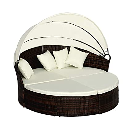Fantastic Urstar Patio Furniture Wicker Rattan Patio Round Daybed Outdoor Furniture Set Canopy Brow With White Cushion Beatyapartments Chair Design Images Beatyapartmentscom
