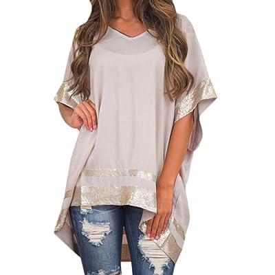 Staron Women's Short Sleeve Casual V-Neck Tunic Tops Loose Plain Shirts Blouse