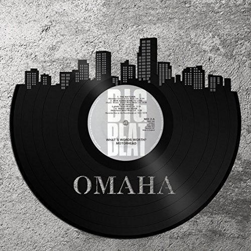VinylShopUS - Omaha Vinyl Wall Art City Skyline Recycled Record | Nebraska Unique Gift | Home Room Decor