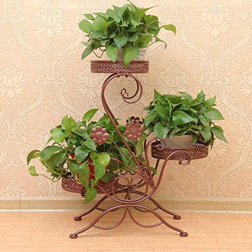Pflanzenregal, 3-stöckig, aus Metall, sehr dekorativ, Bronzefarben