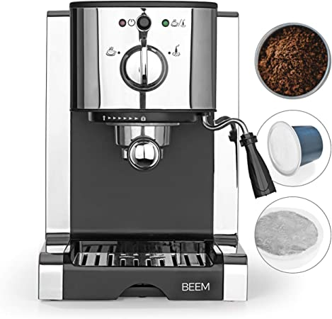 BEEM máquina de Espresso 20 Bar para baristas principiantes, con inserción de cápsulas compatibles con las cápsulas Nespresso | boquilla de espuma de leche, tanque de agua removible [acero inoxidable]: Amazon.es: Hogar