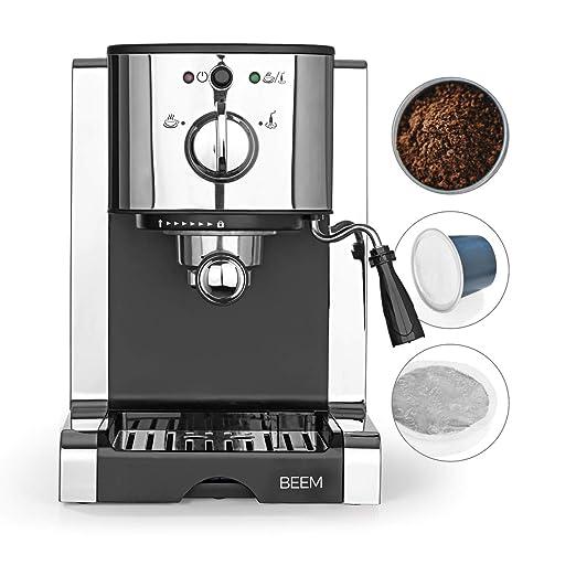 BEEM Espresso Perfect | Cafetera de espresso con accesorio para cápsulas Nespresso | Boquilla para preparar espuma de leche | Apta para café en polvo, ...