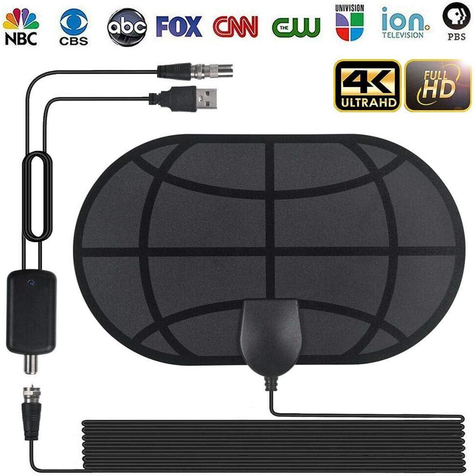 BangHaa Antena HDTV, antena de TV de alta definición HDTV más nueva antena de TV digital 65-100 Miles Antena interior Antena de TV digital con amplificador de señal-manejar canales 4K 1080P TDT: