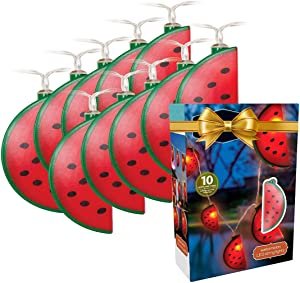 LED Watermelon Battery Operated String Lights - 10 pcs Set Fruit Shaped String Hanging Light Decorations - Indoor Outdoor Lighting for Home Bedroom Wall Patio Deck Garden Backyard Party Decor