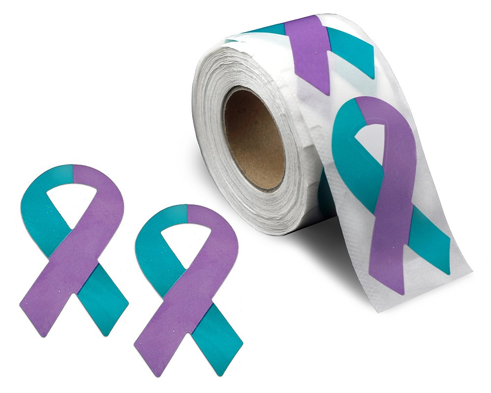 Teal & Purple Ribbon Large Stickers - 2 Rolls - 500 Stickers