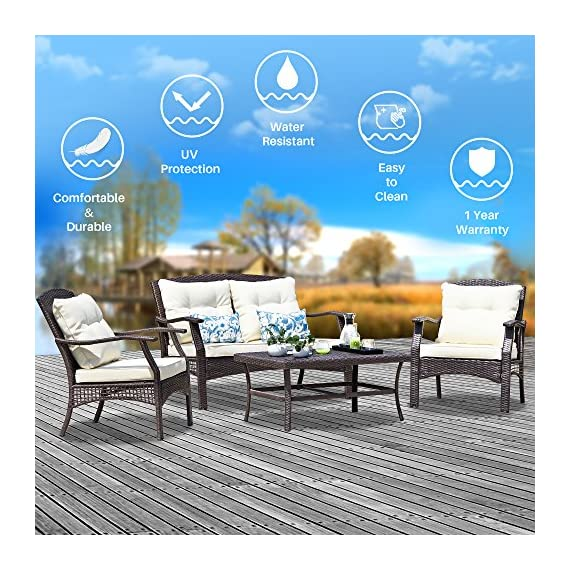SUNTONE Outdoor Furniture 4 Piece Conversation Set- All Weather PE Rattan Wicker  Patio Furniture Set, Beige Cushions, 2 Throw Pillows (2018 New, Brown) - STURDY & DURABLE: Outdoor conversation set constructed fron reinforced rust-resistant powder coated steel frame that can support up to 300 pounds per seat, all-weather wicker and Grade 5 UV-resistant fabric for long-lasting vibrant color (Please note the dimension showed in the picture). COMFORTABLE & MODERN: 3.5-inch thick sponge padded seat cushions, 2 extra throw pillows provide gentle yet effective support to your back for more comfort, comfortable size and modern design perfect for conversation and drinks. EASY TO CLEAN: All cushions come with zippered polyester covers, washable and quick-drying (except back cushions). - patio-furniture, patio, conversation-sets - 61upDuvKzxL. SS570  -