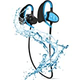 Waterproof Bluetooth Headset Professional IPX8 YILILK Noise Cancelling Wireless Sports Headphones with Mic,for Gym,Running,Hiking(Blue)
