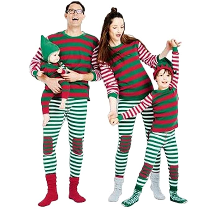 family christmas costume holiday women men kids family matching 2pcs striped santa pajamas set