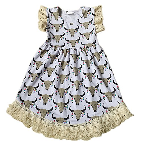 Yawoo Haan Toddler & Girls Printed Cotton Boutique Dresses Cartoon Party Dress (Flutter Smocked Dress)
