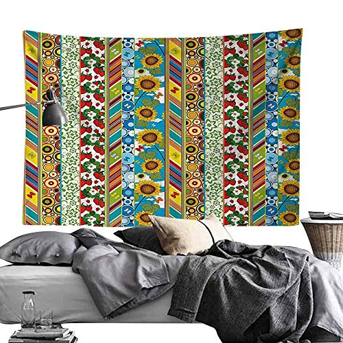 - Homrkey Polyester Tapestry Striped Colorful Summer Spring Retro Patchwork Style Pattern Sunflowers Butterflies Strawberry Tapestry for Room W80 x L60 Multicolor