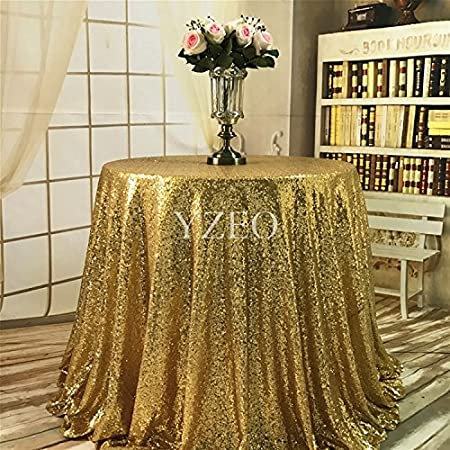 YZEO Gold Sequin 96u0026quot; Round Tablecloth Shiny Wedding Table Cloth  Sparkly Table Fabric