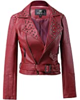 LLF Womens Faux Leather Zip Up Moto Biker Jacket With Many Details