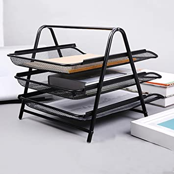 Amazon.com : Bestmemories 3 Tier Stackable Office Letter Tray Desk Organizer Metal Triple Layer Folder Storage Stand Rack Data Disk and File Storage Rack ...