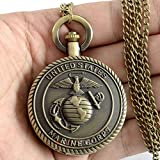 Us Marine Corps Antique Steampunk Necklace Pocket Watch Vintage Quartz Pendant Gift Chain Retro