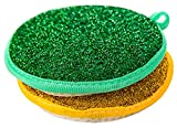 C-Pioneer Double Side Round Shape Metallic Scrub Sponge Dish Pad Cleaner (Pack of 2)