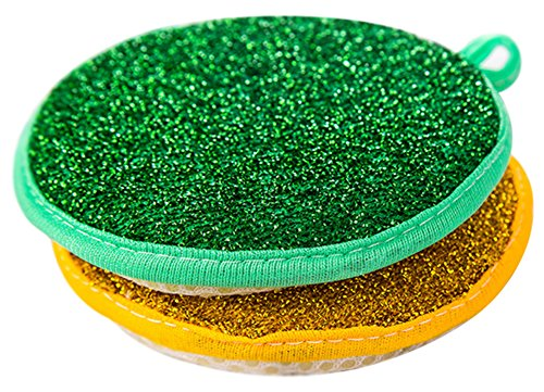 C-Pioneer Double Side Round Shape Metallic Scrub Sponge Dish Pad Cleaner (Pack of 5)