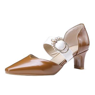 UH Damen Mary Jnae Pumps Blockabsatz Spitze Heels mit Schnalle Bequeme Schuhe cjAzkI