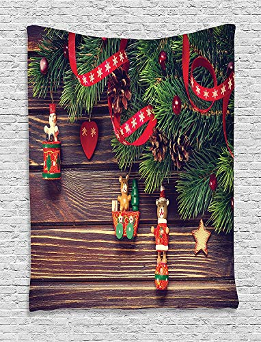 HouseLookHome Christmas Tapestry, Rustic Wooden Backdrop December Old Christmas Noel Time Theme Ribbon Print, Wall Hanging for Bedroom Living Room Dorm, 60 W X 80 L Inches, Green Brown]()