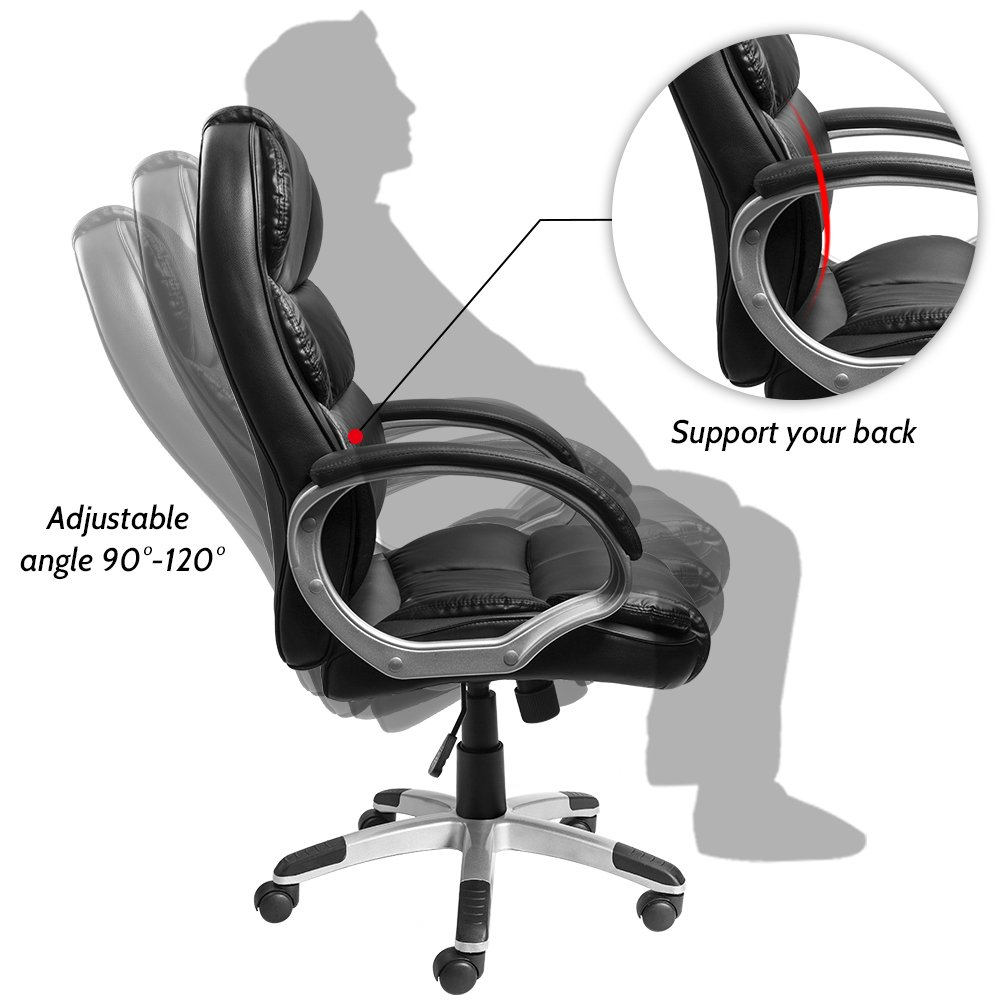 Furmax High Back Office Chair PU Leather Executive Desk Chair with Padded Armrests,Adjustable Ergonomic Swivel Task Chair with Lumbar Support(Black) by Furmax (Image #5)