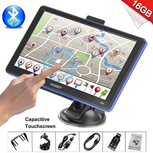 (16GB Storage) Xgody 886 Bluetooth Portable Car Truck GPS Navigation System 7 Inch Capacitive Touchscreen SAT NAV Navigator with Lifetime Maps with Sunshade (Plus 8GB TF Card)