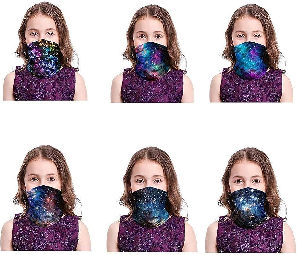 6PCS Kids Bandana Tie Dye Galaxy Face Neck Gaiter Multifunctional Sun UV Protection Tube Scarf Dust Balaclava for Boys Girls