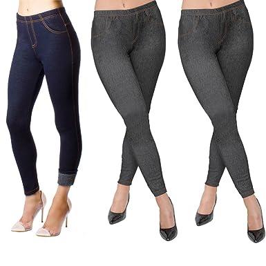 e488e3c72a1be New Ladies Pack of 3 Stretchy Denim Look Skinny Jeggings Leggings Womens  Plus Size 8-26 UK  Amazon.co.uk  Clothing