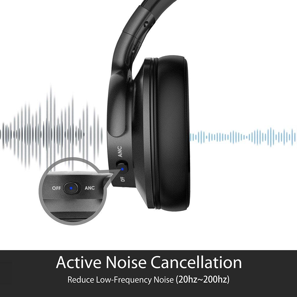 Avantree Auriculares Diadema Inalámbricos con Cancelación de Ruido Activo para Viajar, IR en Avión o Cortar el Césped. ANC Bluetooth con Cable con micró, ...