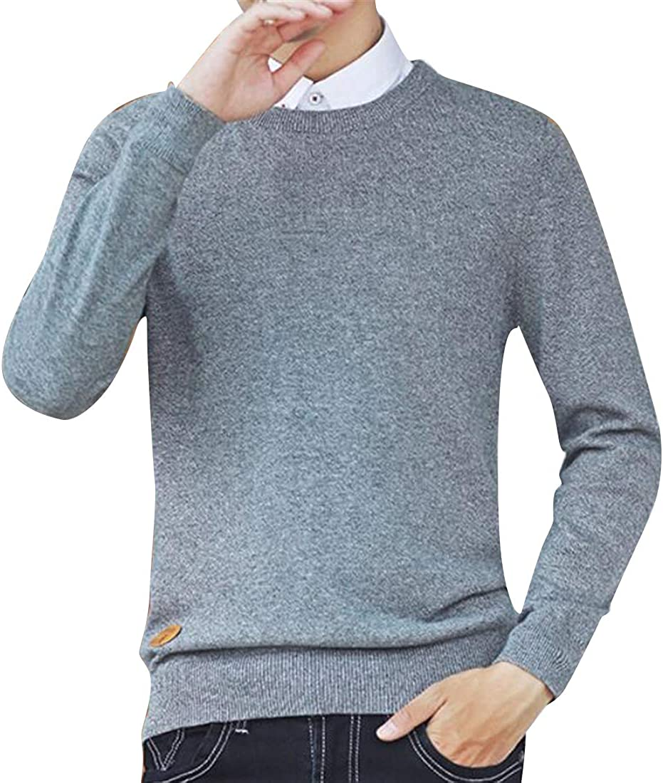 OTW Mens Solid Winter Long Sleeve Knitting Crew Neck Casual Thin Pullover Sweater