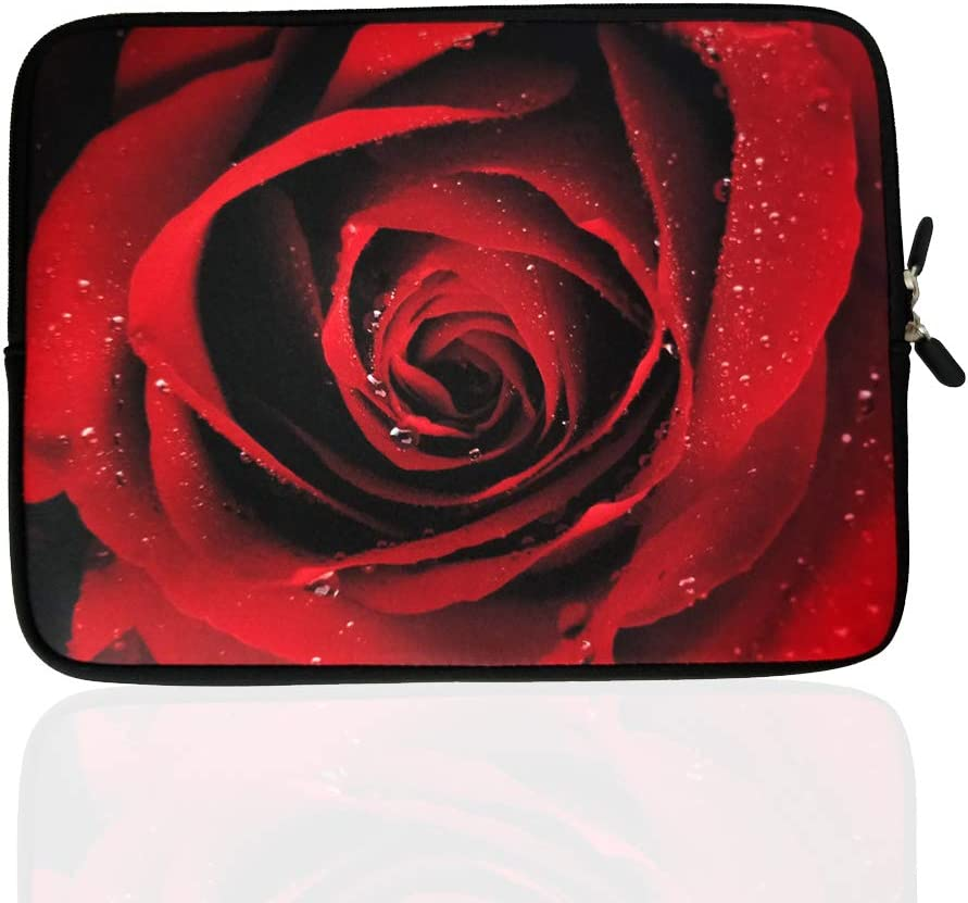 "TAIAN 13.3-Inch to 14-Inch Laptop Neoprene Sleeve Case with Hidden Handle for 12.9 13 13.3 14 14.1"" Inch Men Women Ultrabook/Chromebook/Tablet/Netbook (13.3-14 Inch, Red Rose)"