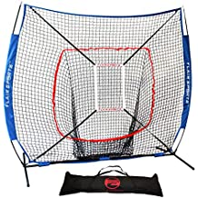 Flair Sports Baseball & Softball Net for Hitting & Pitching | Heavy Duty 7x7 Pro Series | Indoor & Outdoor Training Net | Bow Frame + BONUS Strike Zone Included