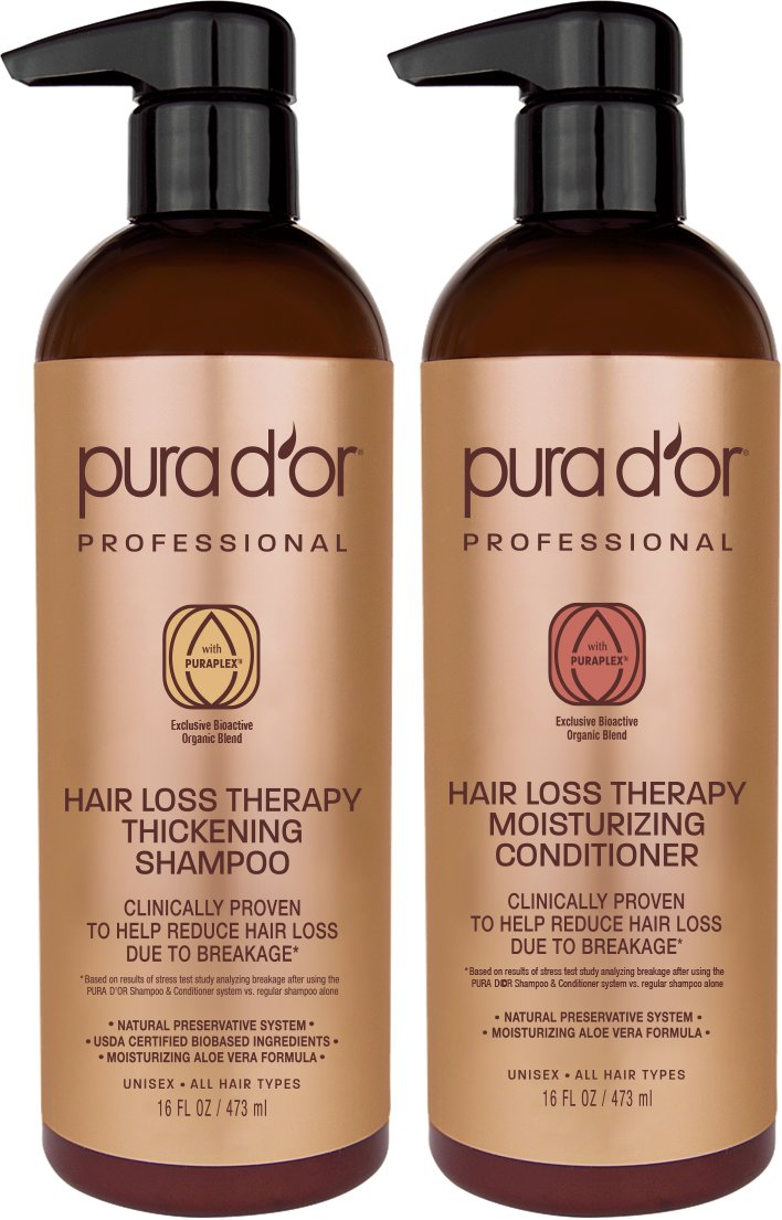 PURA D'OR Professional Grade Hair Thinning Therapy Shampoo & Conditioner Regimen Clinically Tested Super Concentrated for Maximum Results, Sulfate Free Natural & Organic Ingredients, Men & Women