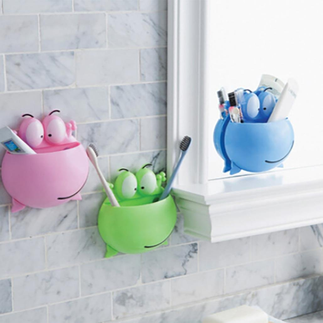 Bescita Cute Cartoon Sucker Hook Toothbrush Holder Bathroom Set (Green)