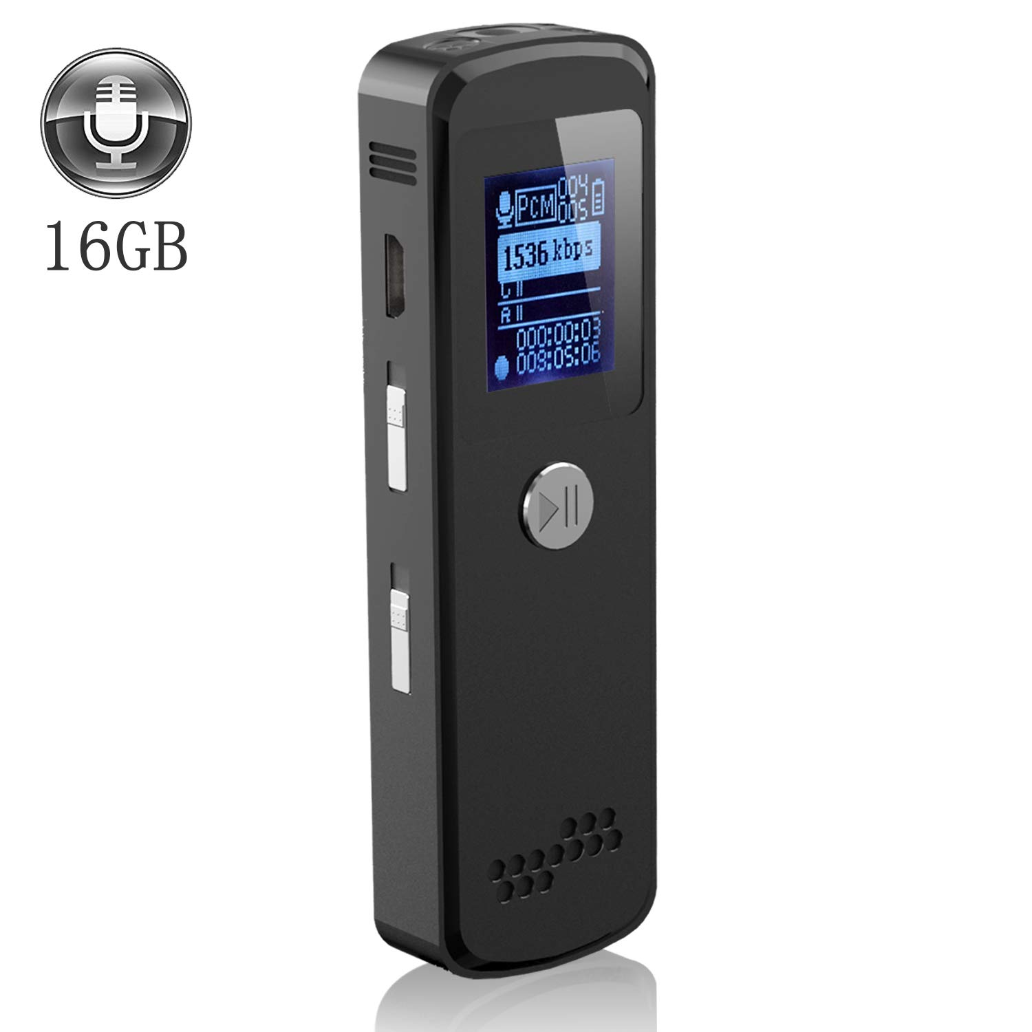 Digital Voice Recorder,16GB Memory Audio Recorder for Lectures Meetings,USB,Rechargeable,MP3 Player,Metal Casing