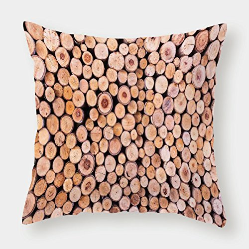 - iPrint Cotton Linen Throw Pillow Cushion Cover,Rustic Home Decor,Mass of Wood Log Forest Tree Industry Group of Cut Lumber Circle Stack Image,Cream,Decorative Square Accent Pillow Case