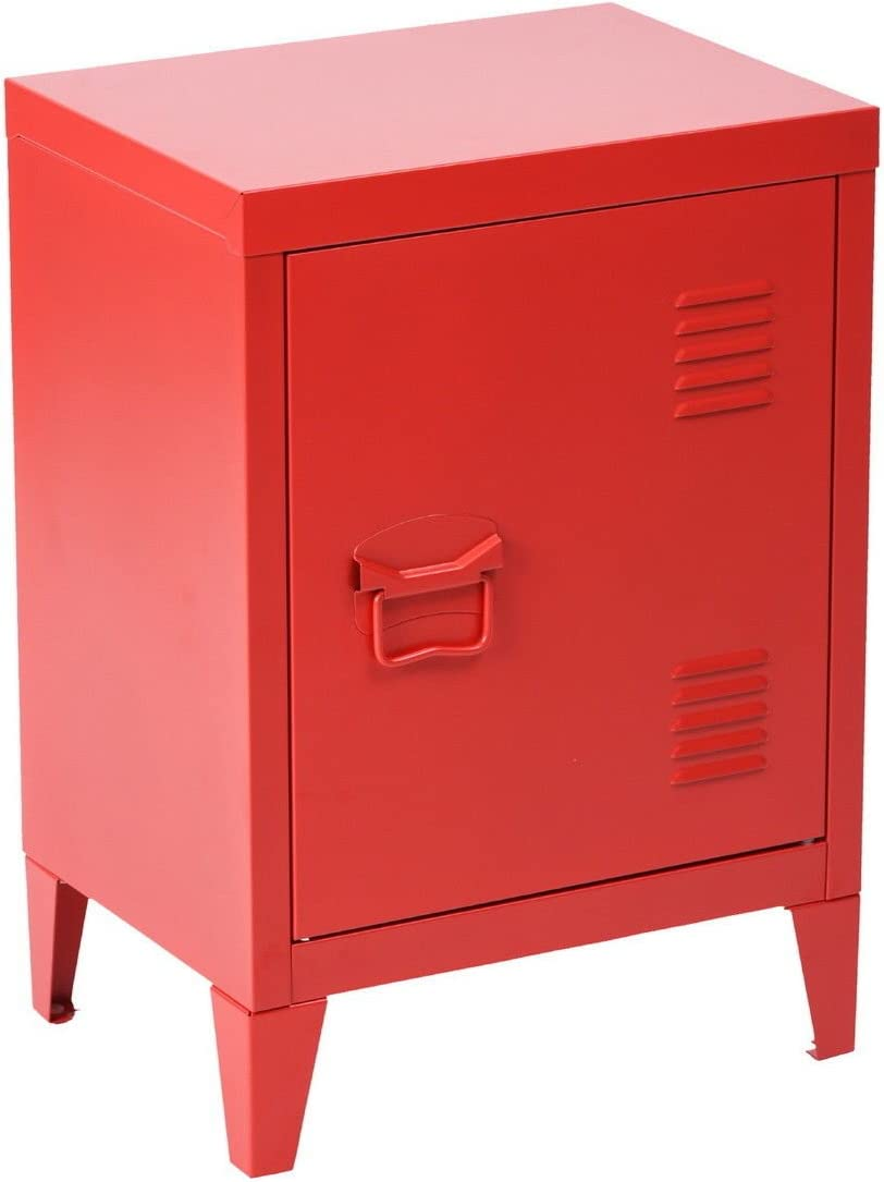 HouseinBox Office File Storage School Lab Supplies Stand Storage 2 Tier Cabinet Shelves, Detachable 4 Legs,Size:15.9'' x 12'' x 22.6'',Red