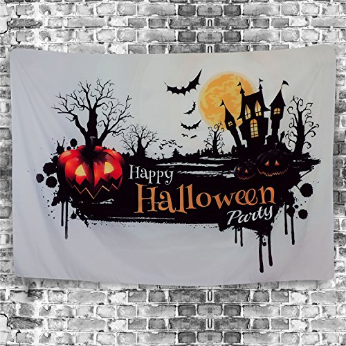 Halloween Tapestry Pumpkin Tapestry Spooky Ghost Town Spider Web Bats Forest Tree Huge Moon Tapestry Bohemian Mandala Tapestry for Halloween Decor Parties Tablecloth Room (L-59.1