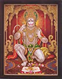 Lord Pawan Putra Hanuman reciting Shri Ram Shri Ram, A Hindu Holy Religious Poster painting with frame for Hindu Religious and Gift purpose