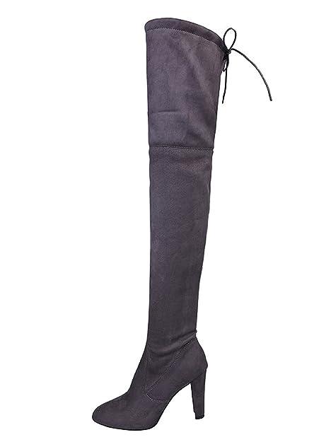 Minetom Donna Stivali Moda Sexy Casual Elegante Invernali con Tacco Alti  Sopra Il Ginocchio Tacchi Alti Inverno Boots  Amazon.it  Scarpe e borse a57356a41d3