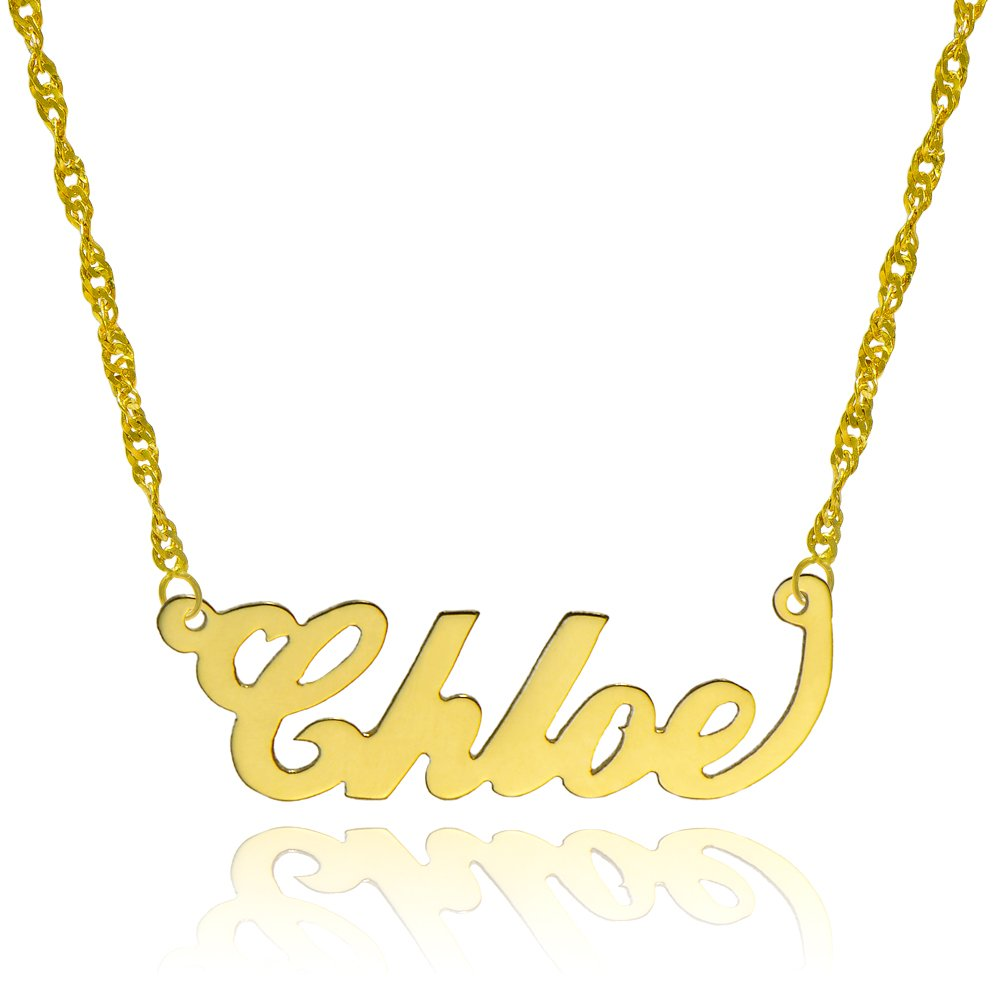 10k Yellow Gold Personalized Name Necklace - Style 3 (18 Inches, Singapore Chain) by Pyramid Jewelry