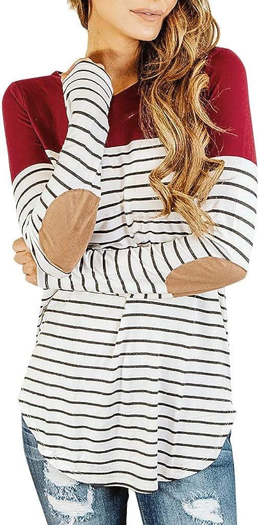 Mujer Camiseta y de Lactancia Mujeres Embarazadas Maternidad O-Cuello Tops de Manga Larga Raya Ropa Blusa HOUMENGO Blusa Embarazada para Premam/á