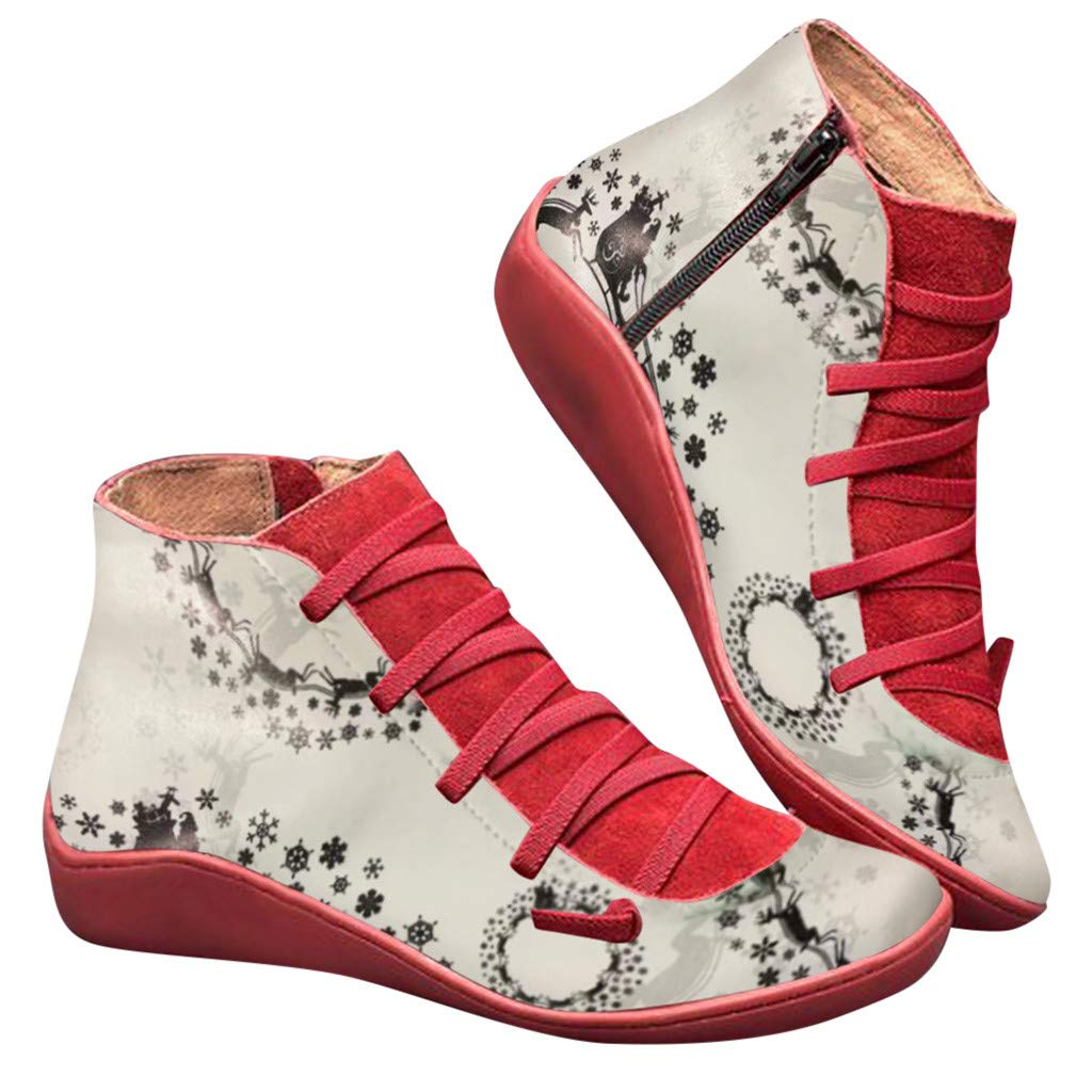 Women's Casual Flat Leather Booties Retro Lace-up Boots Side Zipper Round Toe Shoes Christmas Printed Short Boots 5.5-10.5 (US:5.5, Red) by Aritone - Women Shoes