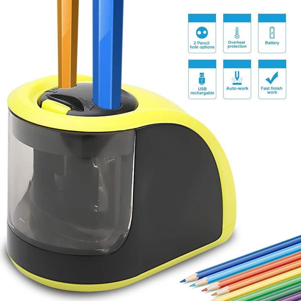Pencil Sharpener - Electric Pencil Sharpener with USB or Battery Operated - 2 Holes(6-8mm & 9-12mm)- Perfect Gift for Kids,Student, Artist, Professionals (Batteries not Included) (Yellow) by WHYNB