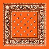 One Dozen 12pcs Orange Paisley 100% Cotton Double Sided Cowboy Bandannas by M.H.I.