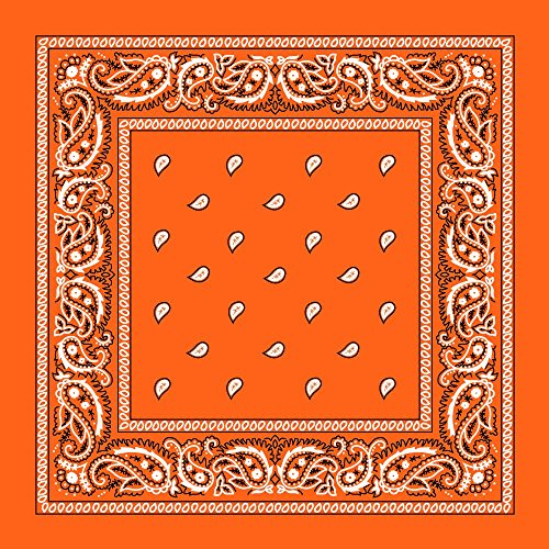 One Dozen 12pcs Orange Paisley 100% Cotton Double