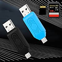 Classico Micro USB 2.0 OTG Memory 2 in 1 USB Micro SD Card Reader Adapter Extension Headers for Smartphone PC