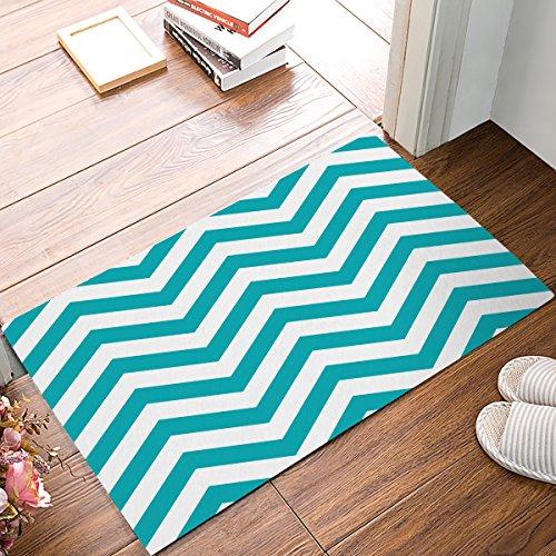 - Indoor Doormat Stylish Welcome Mat Turquoise Teal Chevron Zig Zag Entrance Shoe Scrap Washable Apartment Office Floor Mats Front Doormats Non-Slip Bedroom Carpet Home Kitchen Rug 23.6